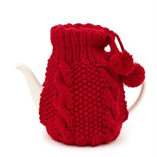 red cableknit tea cozy